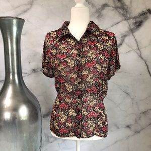 Floral Sheer Button-up Blouse Size 16W